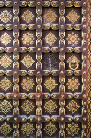 maharaja: Old wooden door in City Palace, Jaipur, Rajasthan, India