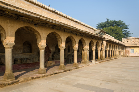 chand baori: Arcade of Chand Baori Stepwell in Jaipur, Rajasthan, India. Stock Photo
