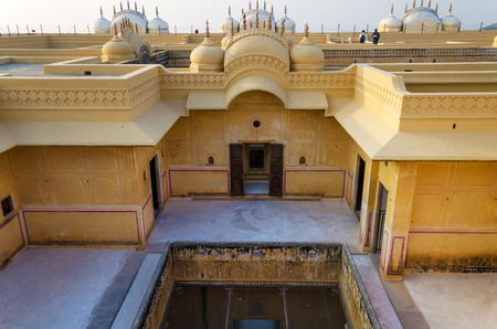 Courtyard inside an old Indian palace. Nahargarh Fort, Jaipur, Rajasthan, India