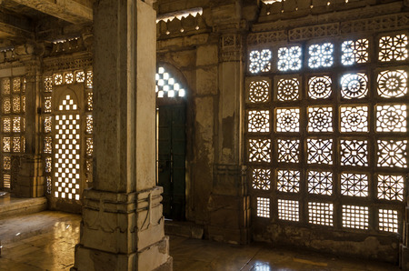 carved stone: Carved stone grilles pattern at Sarkhej Roza mosque, Ahmedabad, India Editorial