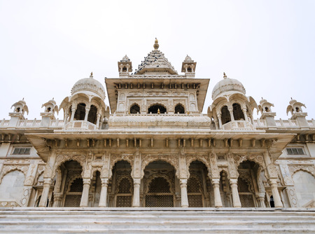 Jaswant Thada. Ornately carved white marble tomb of the former rulers of Jodhpur, India