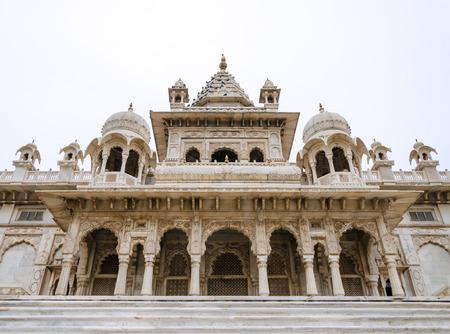 ornately: Jaswant Thada. Ornately carved white marble tomb of the former rulers of Jodhpur, India