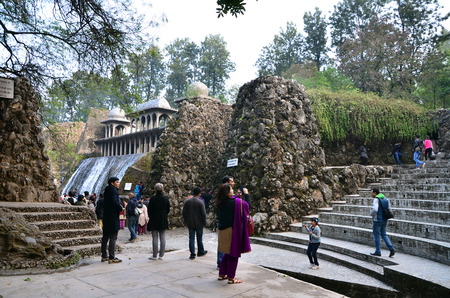 garden waste: Chandigarh, India - January 4, 2015: People visit Rock statues at the rock garden on January 4, 2015 in Chandigarh, India. The rock garden was founded by artist Nek Chand in 1957 and is made completely of recycled waste.