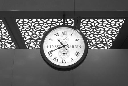 Mumbai, India - January 5, 2015: Ulysse Nardin clock in Chhatrapati Shivaji International Airport, Mumbai, India. Ulysse Nardin is a watch manufacturer founded in 1846, in Le Locle, Switzerland.