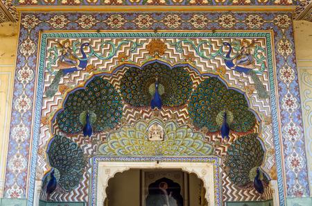 Peacock Gate at the Chandra Mahal, Jaipur City Palace in Jaipur, Rajasthan, India.