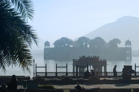 afloat: Silhouette of Jal Mahal in Man Sagar Lake, Jaipur, Rajasthan