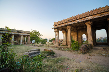 gujarat: Twilight of Sarkhej Roza mosque in Ahmedabad, Gujarat, India