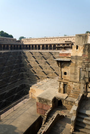 dausa: Chand Baori Stepwell in the village of Abhaneri, Rajasthan, India.