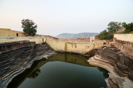 rajput: Large reservoir at Nahargarh Fort in Jaipur, Rajasthan, India