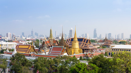 Aerial view of Grand Palace and Emerald Buddha Temple in Bangkok, Thailand photo