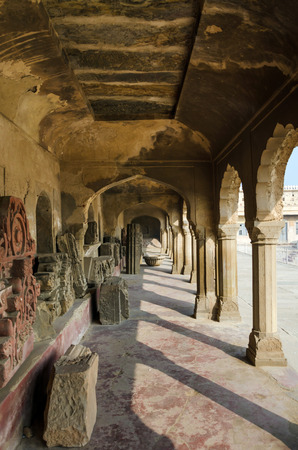 chand baori: Corridor of Chand Baori Stepwell in Jaipur, Rajasthan, India.