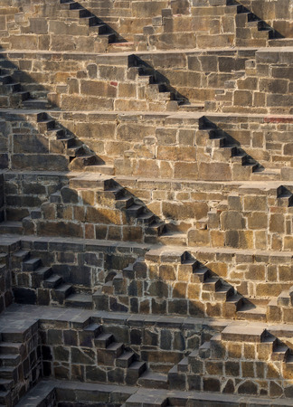 baori: Steps at Chand Baori Stepwell in Jaipur, Rajasthan, India. Stock Photo