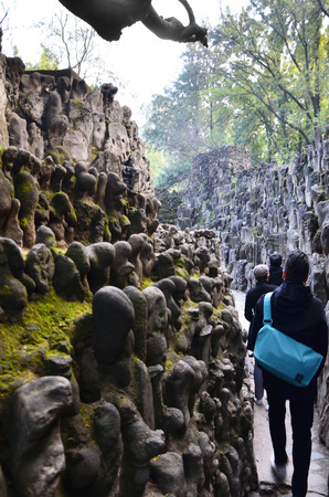 chand: Chandigarh, India - January 4, 2015: Tourist visit Rock statues at the rock garden on January 4, 2015 in Chandigarh, India. The rock garden was founded by artist Nek Chand in 1957 and is made completely of recycled waste.