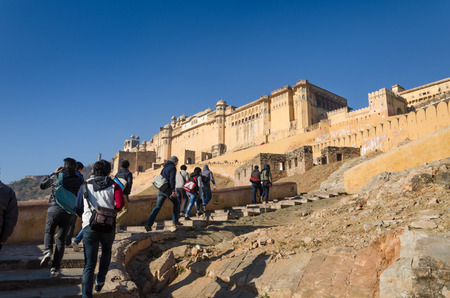 Jaipur, India - December 29, 2014: Tourist visit Amber Fort near Jaipur, Rajasthan, India on December29, 2014. The Fort was built by Raja Man Singh I.