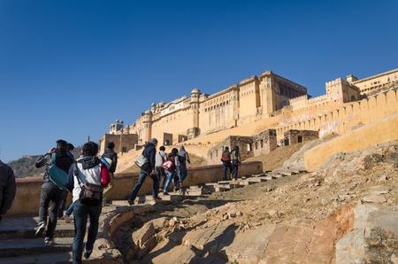 amber fort: Jaipur, India - December 29, 2014: Tourist visit Amber Fort near Jaipur, Rajasthan, India on December29, 2014. The Fort was built by Raja Man Singh I.