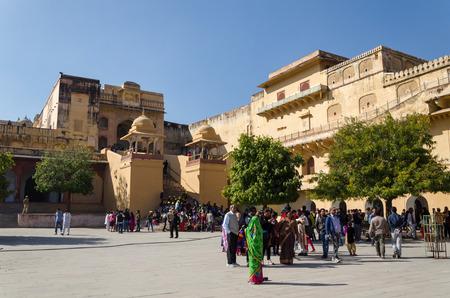 jagmandir: Jaipur, India - December 29, 2014: Tourist visit Amber Fort near Jaipur, Rajasthan, India on December29, 2014. The Fort was built by Raja Man Singh I.
