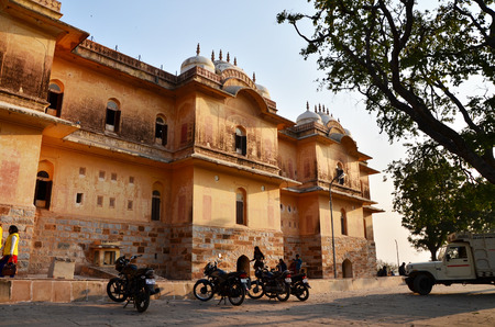 Jaipur, India - December 30, 2014: People visit Traditional architecture, Nahargarh Fort in Jaipur, Rajasthan, India.  Nahargarh Fort Built mainly in 1734 by Maharaja Sawai Jai Singh II, the founder of Jaipur.