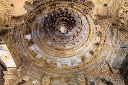 toran: Interior crafted designs roof on rocks at Sun Temple Modhera, Ahmedabad, India Editorial