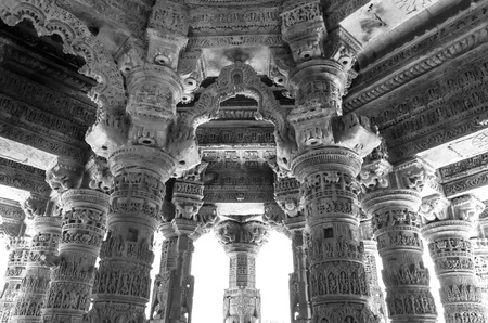 toran: Interior crafted designs on rocks at Sun Temple Modhera, Ahmedabad, India (Black and White) Editorial
