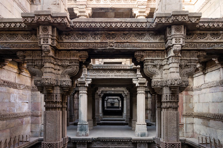 toran: One Point Perspective at Adalaj Stepwell in Ahmedabad, Gujarat, India