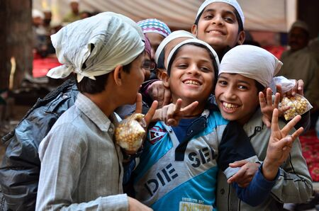 Jodhpur, India - January 1, 2015: Portrait of Indian children in a village in Jodhpur, india. Jodhpur is the second largest city in the Indian state of Rajasthan with over 1 million habitants.