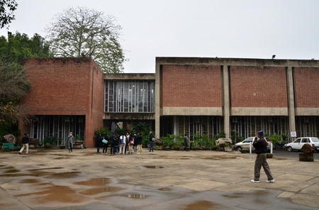 building sector: Chandigarh India  January 4 2015: Tourist visit Government Museum and Art Gallery in Chandigarh India on January 4 2015. The building was designed by noted architect Le Corbusier. Editorial