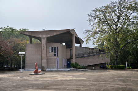 building sector: Chandigarh India  January 4 2015: Tourist visit Chandigarh Architecture Museum on January 4 2015. The building was designed by noted architect Le Corbusier.
