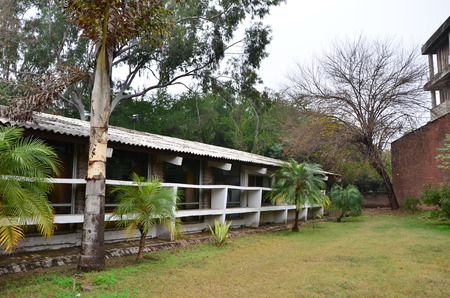 building sector: Chandigarh India  January 4 2015: Tourist visit Le Corbusier Centre in Chandigarh India. Le Corbusier Centre has been set up by the Chandigarh Administration at the old Sector 19 office of the citys architect Le Corbusier.