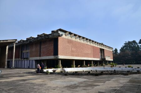 building sector: Chandigarh India  January 4 2015: Tourist visit Government Museum and Art Gallery in Chandigarh India on January 4 2015. The building is square 165x165 feet 50x50m and was designed by noted architect Le Corbusier. Editorial
