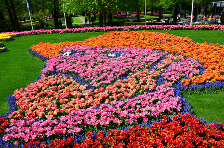 self made: Self portrait of Vincent van Gogh made from thousand tulip and grape hyacinths at the Keukenhof Holland Spring Garden.
