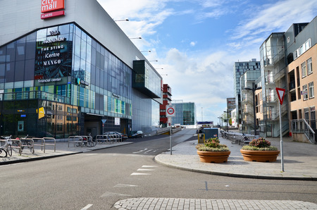 almere: Almere, Netherlands - May 5, 2015: People visit modern city center of Almere, Flevoland, the newest city in the Netherlands, where construction began in 1975. Editorial