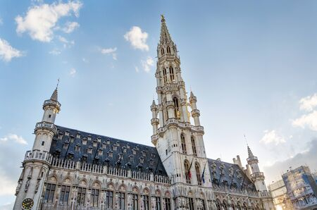 unesco: Town hall in Grand place, Brussels, Belgium. UNESCO World Heritage Site. Stock Photo