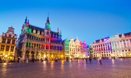 Grand Place in Brussels with colorful lighting, Belgium 스톡 콘텐츠