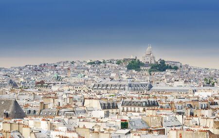 sacre: Montmartre skyline with Basilica Sacre Coeur. view from Pompidou center in Paris, France. Stock Photo