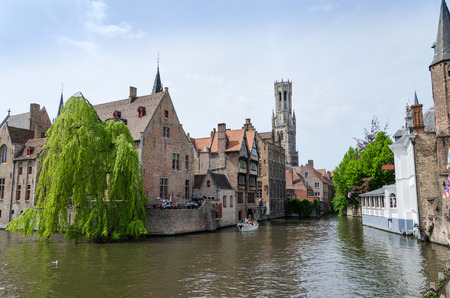 bruges: View from the Rozenhoedkaai in Bruges Belgium Stock Photo