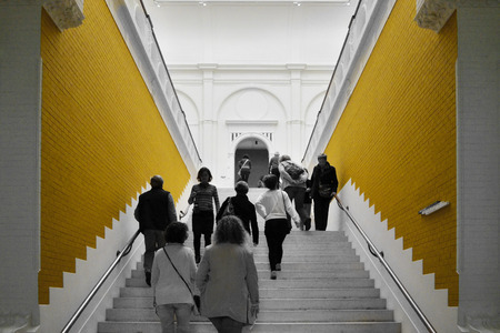 museum visit: Amsterdam, Netherlands - May 6, 2015: People visit Stedelijk Musem in Amsterdam located in the museum park, Netherlands on May 6, 2015