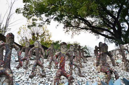 chand: Chandigarh, India - January 4, 2015: Rock statues at the rock garden on January 4, 2015 in Chandigarh, India. The rock garden was founded by artist Nek Chand in 1957 and is made completely of recycled waste.