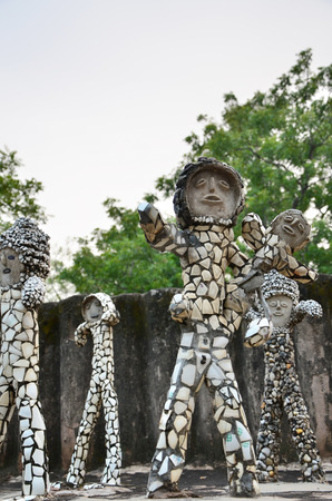 garden waste: Chandigarh, India - January 4, 2015: Rock statues at the rock garden on January 4, 2015 in Chandigarh, India. The rock garden was founded by artist Nek Chand in 1957 and is made completely of recycled waste.