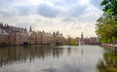 'the hague': Famous parliament building complex Binnenhof in The Hague, Netherlands.