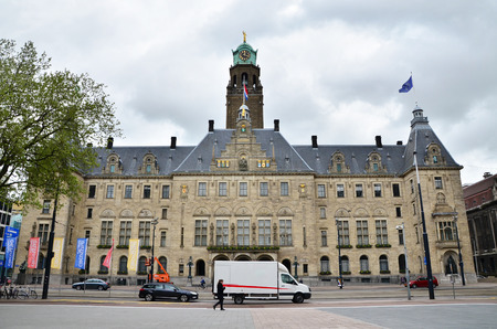 wilhelmina: Rotterdam, Netherlands - May 9, 2015: People visit Town hall of Rotterdam on May 9, 2015. The foundation stone was laid by Queen Wilhelmina on July 15, 1915.