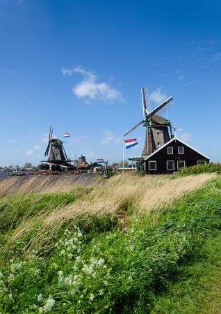 Wind mills in Zaanse Schans, The Netherlands.