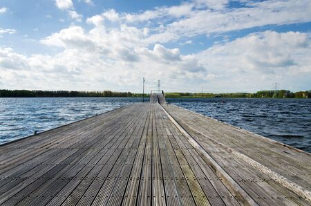 almere: Wooden pier in Weer Water, Almere, Netherlands Stock Photo