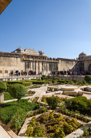 amber fort: Jaipur, India - December 29, 2014: Tourist visit Sukh Niwas the Third Courtyard in Amber Fort near Jaipur, Rajasthan, India on December 29, 2014. The third courtyard is where the private quarters of the Maharaja, his family and attendants were built.