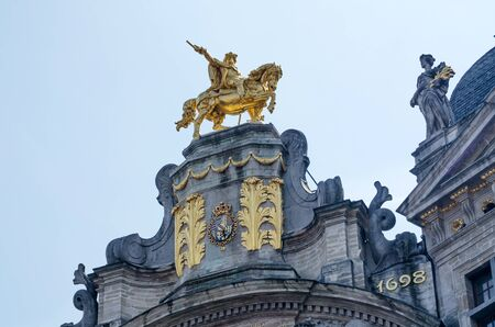Golden Sculpture on Ancient Buildings In Grand Place, Brussels, Belgium.