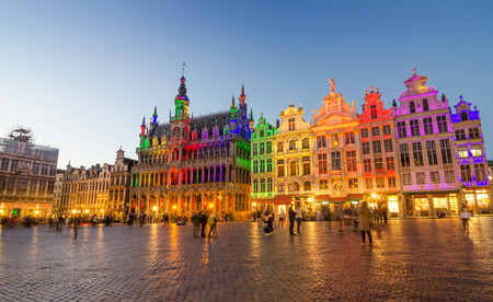 night view: Grand Place with colorful lighting at Dusk in Brussels, Belgium Editorial