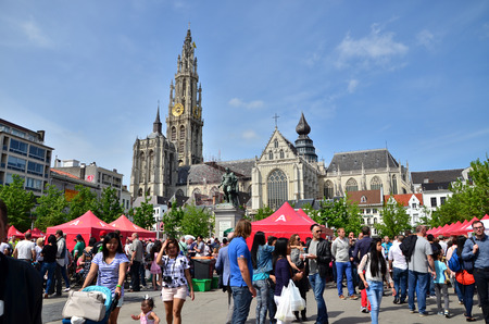 our people: Antwerp, Belgium - May 10, 2015: People visit Thailand Festival at Groenplaats, the Central Square of Antwerp, Belgium, with the Statue of Rubens and Cathedral of Our Lady. on May 10, 2015.