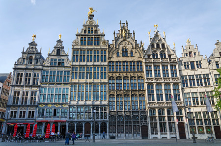 guild hall: Antwerp, Belgium - May 10, 2015: Tourist visit The Grand Place (grote markt) on May 10, 2015 in Antwerp, Belgium. Antwerp is the second biggest city in Belgium with population of 512,000.