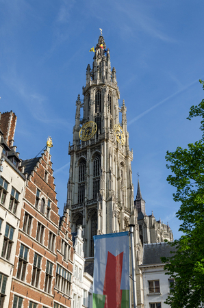 antwerp: Tower of Cathedral of Our Lady in Antwerp, Belgium Stock Photo