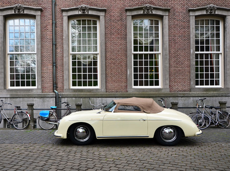speedster: The Hague, Netherlands - May 8, 2015: Classic Porsche 356 at The Hague, Netherlands. The Porsche 356 is a luxury sports car which was first produced by Austrian company Porsche Konstruktionen GesmbH (1948-1949) Editorial