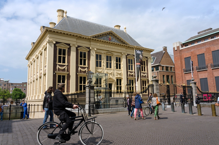 golden age: The Hague, Netherlands - May 8, 2015: Tourists visit Mauritshuis Museum in The Hague, Netherlands.The museum houses the Royal Cabinet of Paintings which consists of 841 objects, mostly Dutch Golden Age paintings.